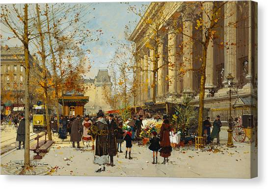 Neoclassical Art Canvas Print - Flower Walk by Eugene Galien-Laloue
