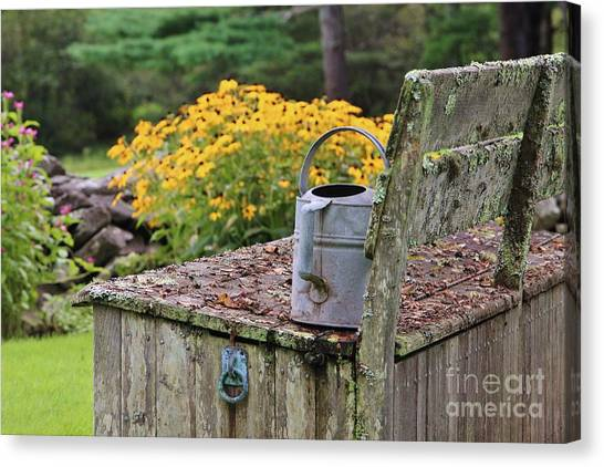 Flowered Bench Canvas Print