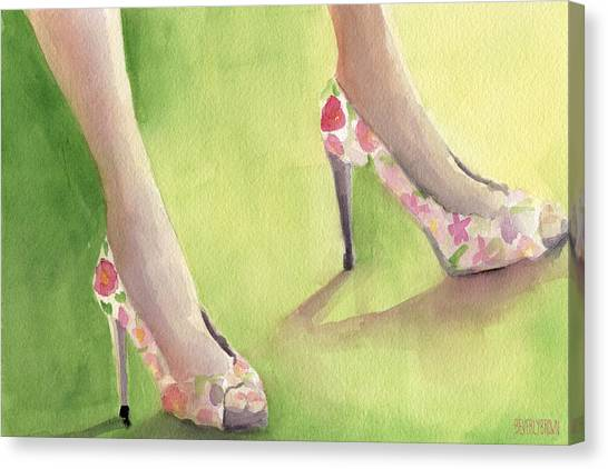 Limes Canvas Print - Flowered Shoes Fashion Illustration Art Print by Beverly Brown Prints