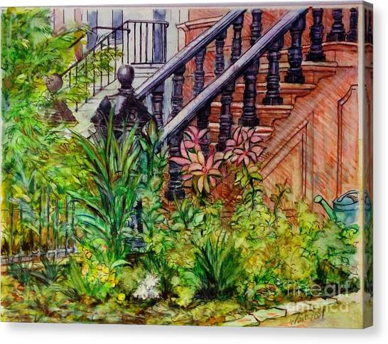 Flowers And Balustrade Eighth Street Canvas Print
