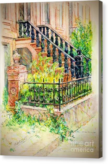 Flowers And Balustrade Ninth Street Canvas Print