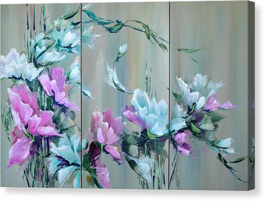 Flowers And Bamboo - Tryptych Canvas Print by Steven Nevada