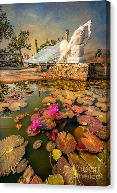 Temple Canvas Print - Flowers And Buddha by Adrian Evans