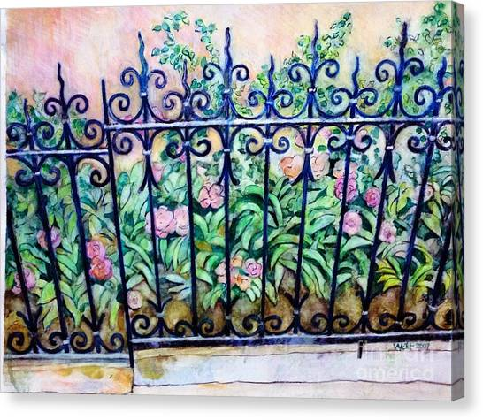 Flowers And Fence On Eighth Avenue Canvas Print