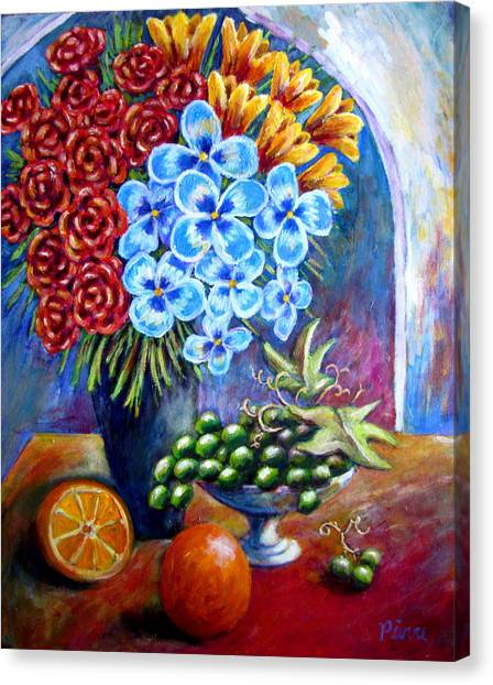 Flowers And Fruit  Canvas Print