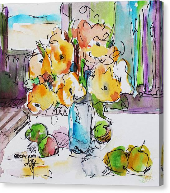 Flowers And Green Apples Canvas Print by Becky Kim