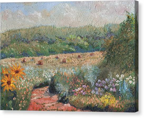 Flowers And Hay Canvas Print by William Killen