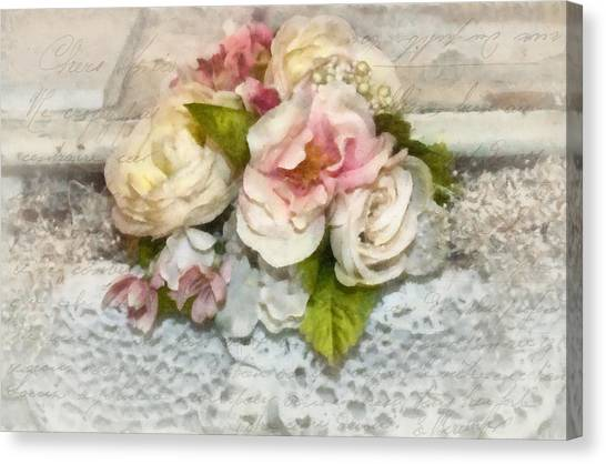 Flowers And Lace Canvas Print by Kathy Jennings