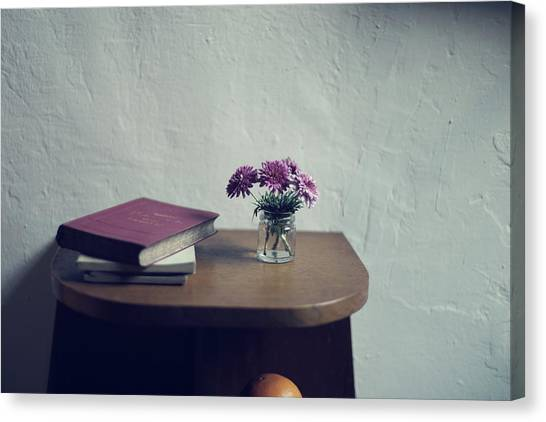 Vase Of Flowers Canvas Print - Flowers And Old Books by Imatge De L'hort De La Lolo