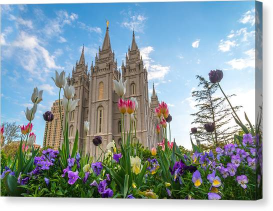 Flowers At Temple Square Canvas Print