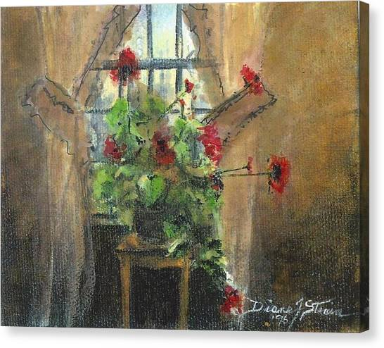 Flowers By The Window Canvas Print
