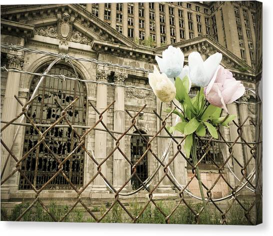Canvas Print featuring the photograph Flowers For Detroit by Priya Ghose