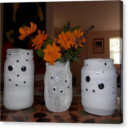 Halloween Flowers For Mummy Canvas Print
