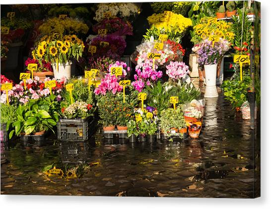 Flowers For Sale At Campo De Fiori - My Favourite Market In Rome Italy Canvas Print