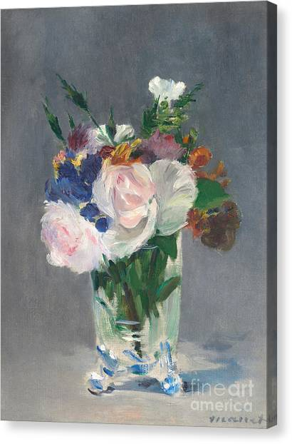 Rose In Bloom Canvas Print - Flowers In A Crystal Vase by Edouard Manet
