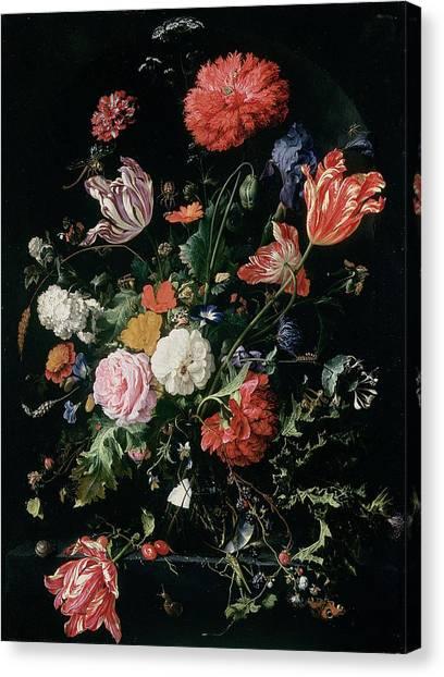 Grasshoppers Canvas Print - Flowers In A Glass Vase, Circa 1660 by Jan Davidsz de Heem