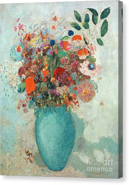 Elegant Canvas Print - Flowers In A Turquoise Vase by Odilon Redon