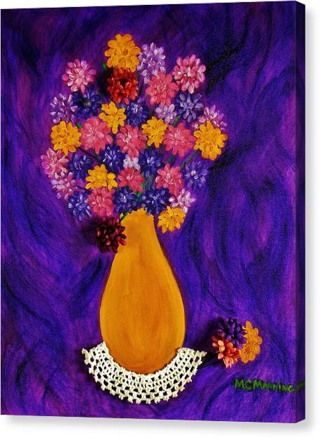 Flowers In A Yellow Vase Canvas Print
