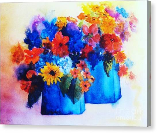 Flowers In Blue Vases Canvas Print