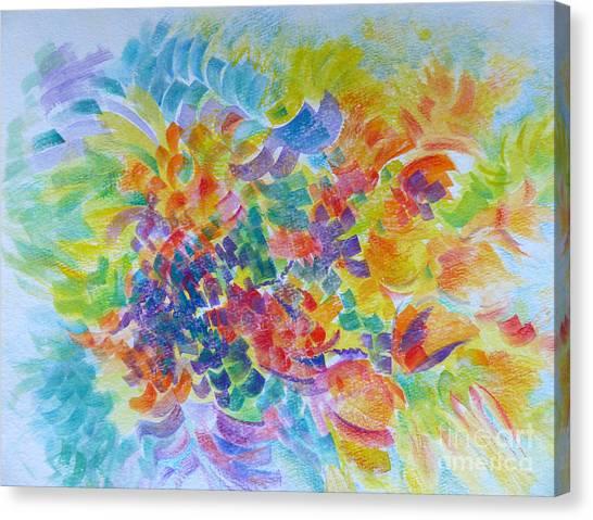 Flowers In Lavender Vase Canvas Print