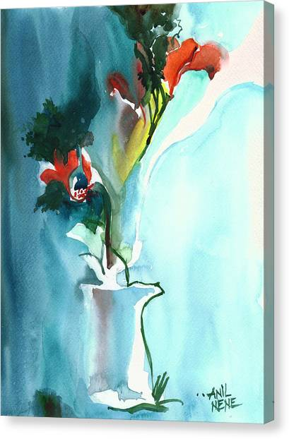 Flowers In Vase Canvas Print