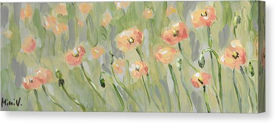 Canvas Print featuring the painting California Poppies by Maria Langgle
