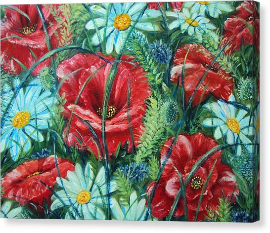 Flowers Poppies And Daisies Canvas Print by Drinka Mercep