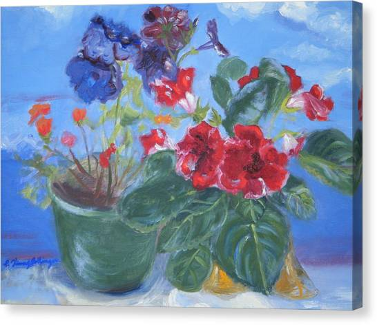 Flowers With The Sky  Canvas Print by Patricia Kimsey Bollinger