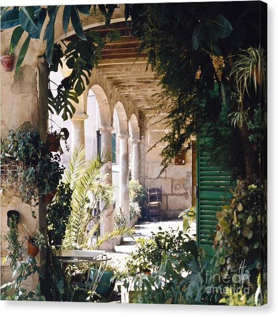 Flowery Majorquin  Patio In Valdemosa Canvas Print