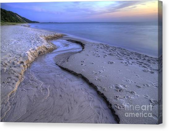 Northern Michigan Canvas Print - Flowing Into Lake Michigan by Twenty Two North Photography