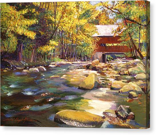 Brush Canvas Print - Flowing Water At Red Bridge by David Lloyd Glover