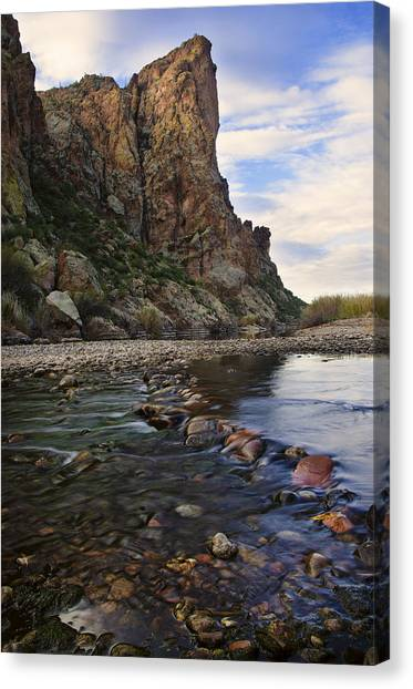 Sonoran Desert Canvas Print - Flowing Waters Of The Salt River by Dave Dilli