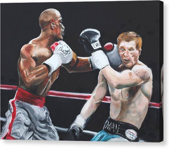 Floyd Mayweather Canvas Print - Floyd Mayweather Vs Ricky Hatton by Alex Whittle