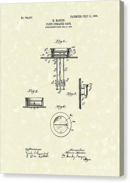 Fluid Canvas Print - Fluid Gauge 1905 Patent Art by Prior Art Design