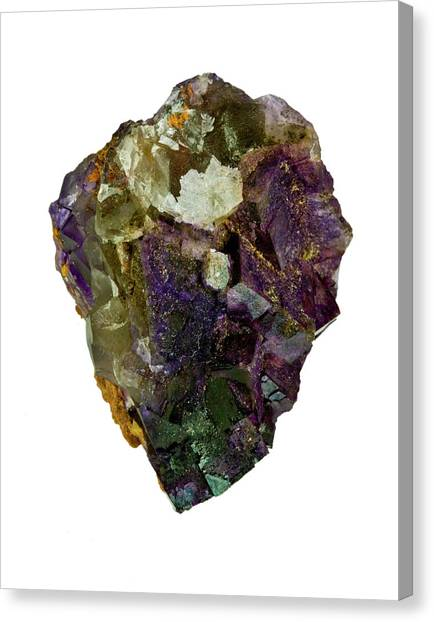 Fluorite Crystal Specimen Canvas Print by Natural History Museum, London/science Photo Library