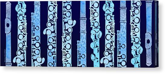 Flutes In Blue Canvas Print