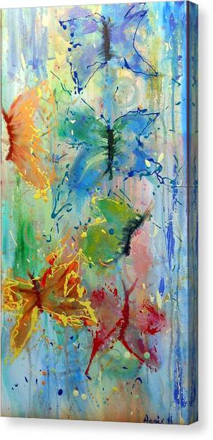 Flutter In The Rain Canvas Print