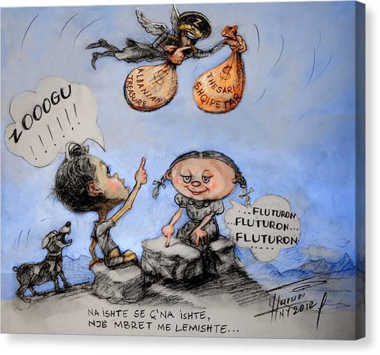 Caricatures Canvas Print - Fluturon...fluturon...fluturon..zogu by Ylli Haruni