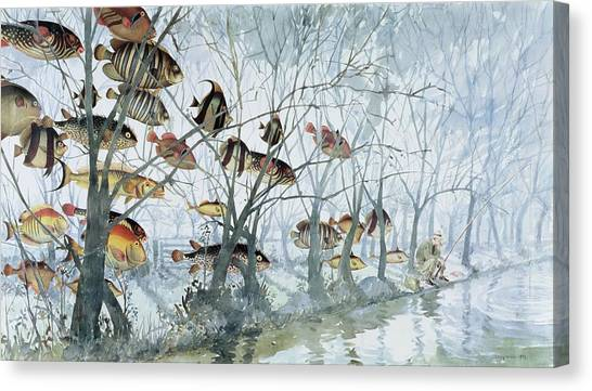 Angling Art Canvas Print - Fly Fishing by Lucy Willis