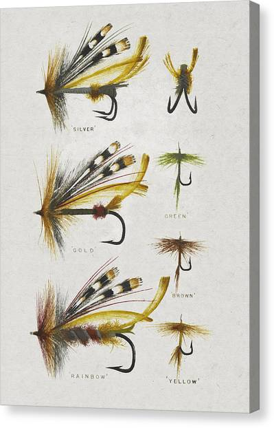 Fish Canvas Print - Fly Fishing Flies by Aged Pixel