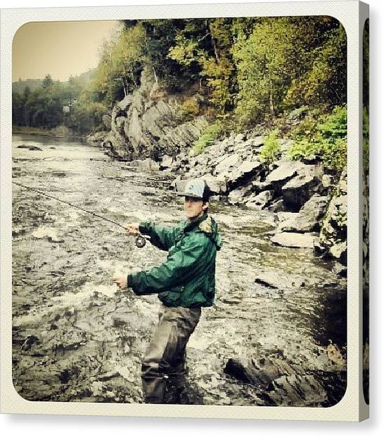Trout Canvas Print - Fly Fishing On The Lamoille River by Aiden Gilbert