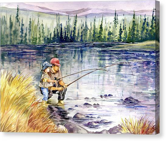 Fly Fishing With Dad Painting By Beth Kantor