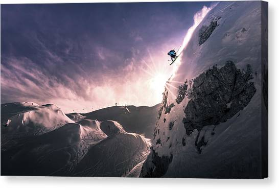 Skiing Canvas Print - Fly For A While by Sandi Bertoncelj
