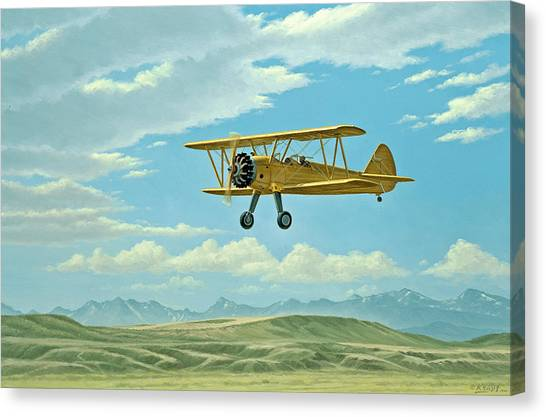 Biplane Canvas Print - Fly-in At Three Forks - Stearman   by Paul Krapf