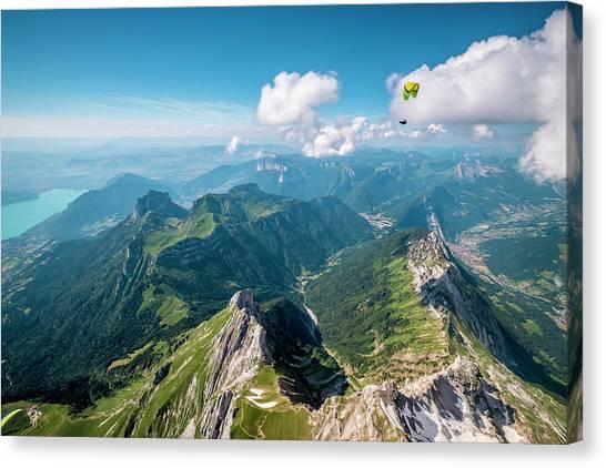 Flying Above La Tournette With Francis Boehm bimbo Canvas Print by Tristan Shu