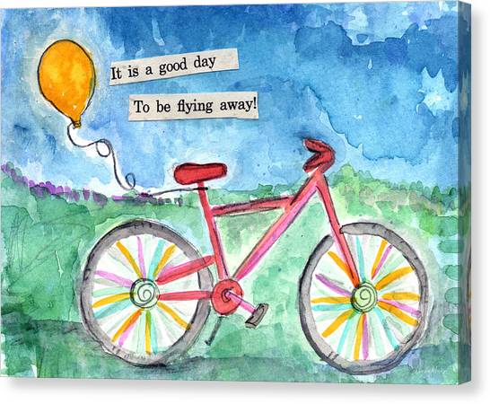 Celebration Canvas Print - Flying Away- Bicycle And Balloon Painting by Linda Woods