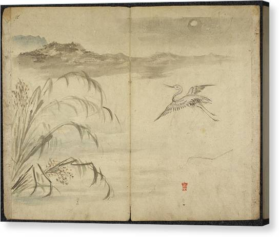 Korean Canvas Print - Flying Crane In Moonlight With Water Gras by British Library