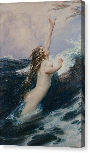 Naked Woman Canvas Print - Flying Fish by Herbert James Draper