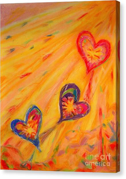 Flying Hearts Canvas Print by Kelly Athena
