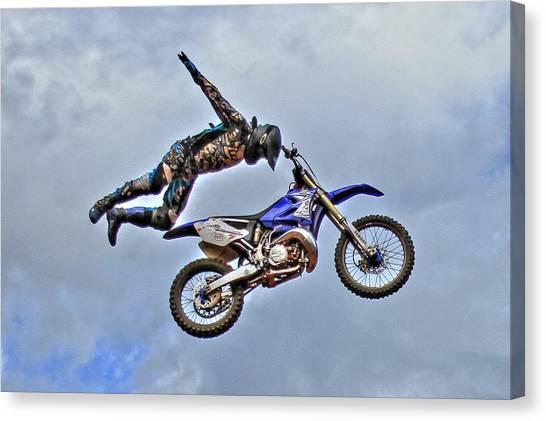 Motocross Canvas Print - Flying High 2 by Reid Callaway